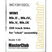 MasterClub 1:35 WWI Mk.II IV V IX Tank 200 Track Links Resin Tracks #MC135132CL