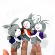 Lindo rompecabezas Doll Story Finger Tres Pequeno Conejo Gris Set - Gris