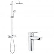 Pachet: Coloana dus Grohe New Tempesta 210-27922001, Baterie lavoar M Grohe Bauegde-23758000