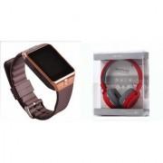 Mirza DZ09 Smart Watch and SH 12 Bluetooth Headphone for LG OPTIMUS L7 II(DZ09 Smart Watch With 4G Sim Card Memory Card| SH 12 Bluetooth Headphone)