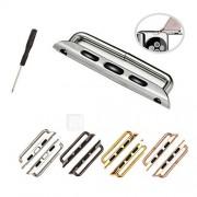 1 paar naadloze metalen connector sluiting horlogeband gesp en schroevendraaier voor appel horloge