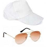 Yuvi Brown Shade Sunglasses White Cap Pack of 2
