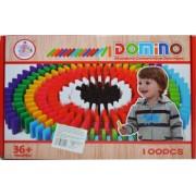Domino de lemn colorat 100 piese/cutie