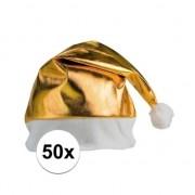 Bellatio Decorations 50x stuks gouden glimmende kerstmutsen