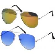 Freny Exim Aviator Sunglasses(Blue, Golden)