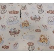 Vékony polyester textil barack színben 150 cm széles