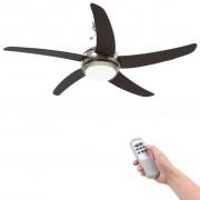 vidaXL Декоративен вентилатор за таван с осветление, 128 см, кафяв