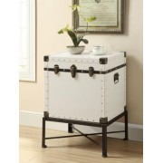 White with black accents finish trunk style chair side accent table with metal base
