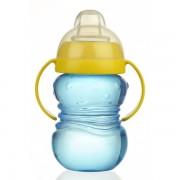 Cana anticurgere Minut Baby 6+ cu manere si cioc silicon 275 ml Bleu
