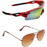 Zyaden Combo of 2 Sunglasses Sport and Aviator Sunglasses- COMBO 2693