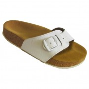 Pegres korkové pantofle kožené s jedním páskem - velikost 23 - 28 bílá