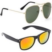 Elgator Aviator, Wayfarer Sunglasses(Yellow, Green)