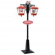 vidaXL Улична лампа с Дядо Коледа, черно и червено, 81x40x188 см, PVC