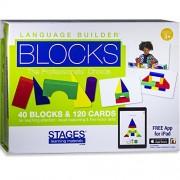 Stages Learning Materials Language Builder Block Imitation Kit Curriculum for Autism & Preschool 120 Pretend Play Flashcards, 40 Wood Blocks, iPad App