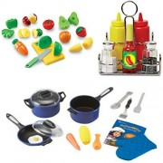 Learning Resourses Pretend & Play Sliceable Fruits & Veggies, Pro Chef & Condiments Set,
