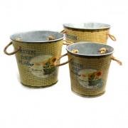 Set 3 suporturi pentru ghivece cu flori de culoare maro