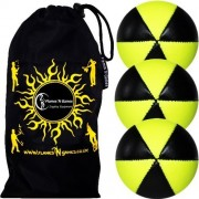 Flames N Games ASTRIX UV Thud Juggling Balls set of 3 (BLACK/YELLOW) Pro 6 Panel Leather Juggling Ball Set & Travel Bag!