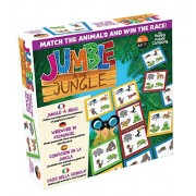 Jumble in The Jungle - Animal Card Tile Game for Children. Teaches Problem Solving, Speed of Thought, spacial Awareness. Single Player or Team Game to Match The Animals and Win! Perfect for 5 and up!