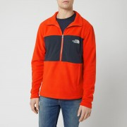 The North Face Men's Blocked TKA 100 1/4 Zip Fleece - Fiery Red/Urban Navy - M