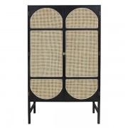 Dulap din lemn sungkai si ratan 200 cm Webbing Two Clothing Black HK Living