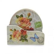 Suport pentru pahare din lemn cu flori si texte