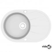 vidaXL Granitni kuhinjski sudoper s jednom kadicom ovalni bijeli