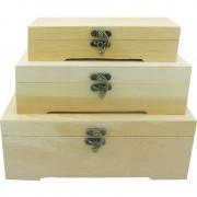 Set trei cutii de lemn pentru decorat