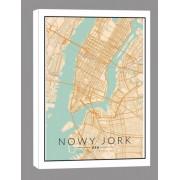 Nowy Jork mapa kolorowa - obraz na płótnie