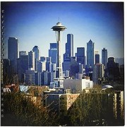 3dRose db_14267_2 Seattle Space Needle and Downtown-Memory Book 12 by 12-Inch