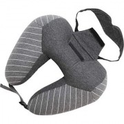 House of Quirk Portable U Shaped Neck Pillow with Eye Mask Travel Hoodie Pillow for Car Office Airplane Neck Pillow