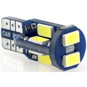 Autós led T10 CANBUS helyzetjelző, index világítás, Samsung chip, 10 led, 150 Lumen, 2,5W, hideg fehér. Life Light Led 2 év garancia!