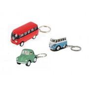 Playking Combo Key Chain of Die Cast Metal 1962 Volkswagen Classical Bus, Little Van & Little Beetle, Color May Vary