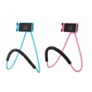 LAX Gadgets Universal Adjustable Neck Mount Hands-Free Phone Holder for iPhone, Samsung 3 Pack Universal Blue & Pink (2xNECK-blu-pnk)