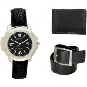 Crude Smart Combo Analog Watch-rg211 With Black Leather Belt Wallet