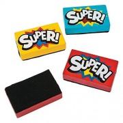 "Wooden Superhero Mini Dry Erase Erasers (12 Pack) 2 1/4"" x 1 1/2"" Super Hero"