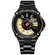 Ceas Curren Unisex Quartz Casual Elegant Negru/auriu PN999682NGD curea din metal zale afisaj Analog