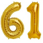 De-Ultimate Solid Golden Color 2 Digit Number (61) 3d Foil Balloon for Birthday Celebration Anniversary Parties