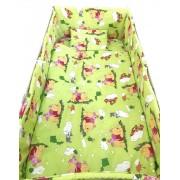 Lenjerie patut cu 5 piese Winnie The Pooh verde 140x70 cm