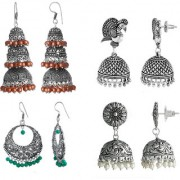 Spargz Oxidized Silver Plated Party Wear Jhumka 4 Pair Earrings COMBO 603