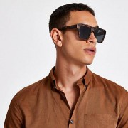 River Island Mens Brown tortoise shell retro frame sunglasses (One Size)
