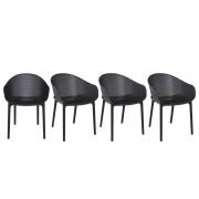 Miliboo Design-Stühle Schwarz stapelbar Indoor/Outdoor (4-er Satz) OSKOL