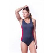 Shepa Dámské sportovní plavky Shepa 006 (B3D6) XL grafitovo (tmavě šedá)-červená