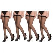 Neska Moda Women 4 Pair Nylon Black Thigh Highs Stockings STK1 4Set