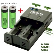 AccuPower IQ-203 + 2 szt Panasonic NCR18650B