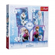 Puzzle copii Frozen 4 in 1 Trefl, 4 ani+