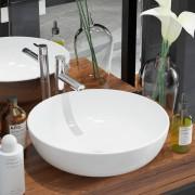 vidaXL Okrúhle keramické umývadlo, biele, 41,5x13,5 cm