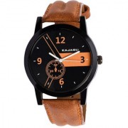 Round Dial Brown Leather Strap Mens Quartz Watch