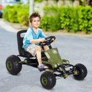 HOMCOM Go Kart Carro de Pedais Racing Desportivo com Assento Ajustável Embraiagem e Travão para Crianças De 3-6 Anos Carga 35kg 99x65x56cm Quadro de Aço Preto e Verde