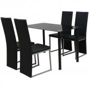 vidaXL Set masă și scaune din lemn de pin cinci piese Negru