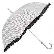 Clayre & Eef JZUM0009N Esernyő 93x90cm fehér fekete pöttyös